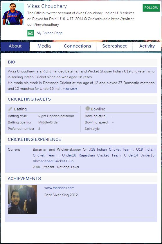 Changes to the CricketHuddle profile